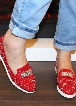 Туфли балетки с камнями, с перфорацией, красные, черные