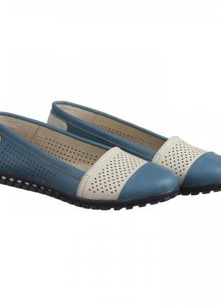 Кожаные туфли балетки эспадрильи с перфорацией синие,  розовые...