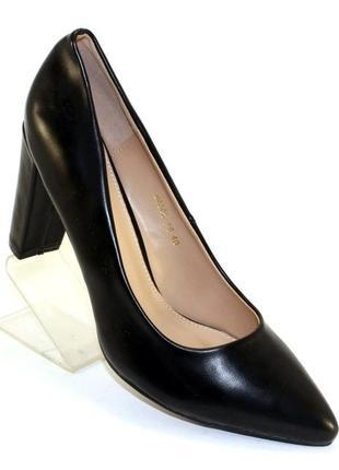 Удобные женские черные туфли лодочки на устойчивом каблуке