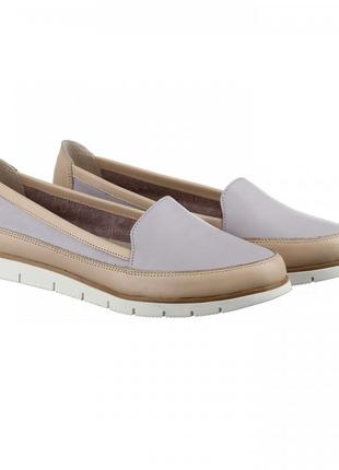 Кожаные бежевые туфли балетки мокасины натуральная кожа