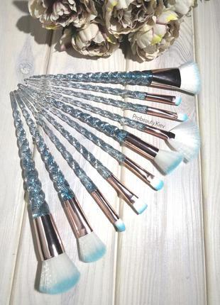 10 шт blue/gold кисти для макияжа набор ручки единорог с шимме...