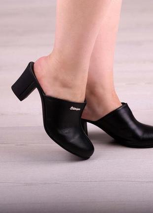 Кожаные закрытые шлепанцы сабо на каблуке черные, бежевые, нат...