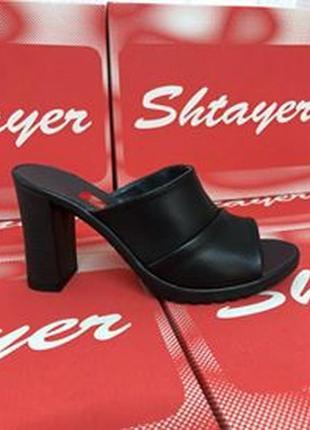 Кожаные шлепанцы на каблуке черные, бежевые, натуральная кожа
