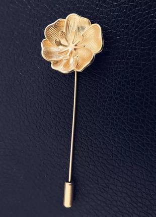 Стильная булавка шпилька брошь цветок золотого цвета