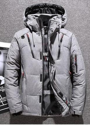 Мужская зимняя спортивная куртка пуховик jeep, серая