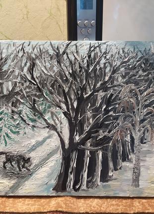 Картина маслом Зимний лес.