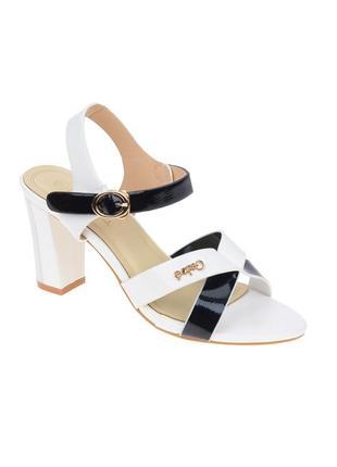 Стильные черно-белые босоножки на устойчивом каблуке