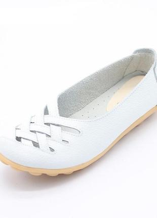 Кожаные комфортные белые туфли балетки натуральная кожа