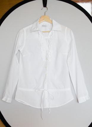 Белая коттоновая блуза рубашка terranova длинный рукав