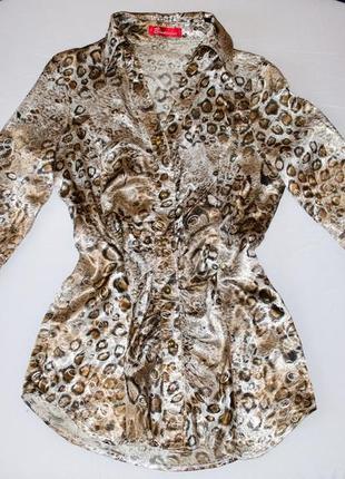 Стильная блуза рубашка с леопардовым принтом длинный рукав