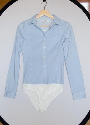 Качественная голубая рубашка боди pull&bear в полоску