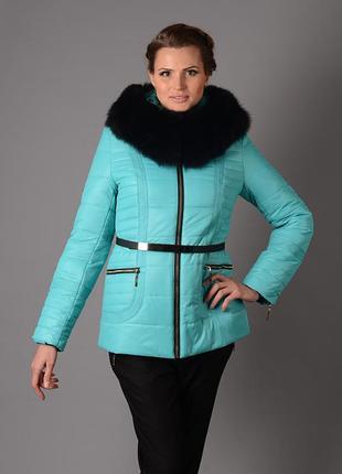 Шикарная зимняя куртка на холлофайбере с натуральным мехом пес...