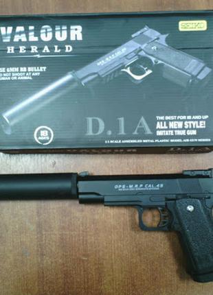 Игрушечный металлический пистолет с глушителем D.1A, пули