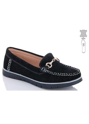 Замшевые комфортные черные туфли мокасины натуральная замша