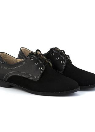 Скидка черные кожаные замшевые туфли на шнурках низкий каблук ...