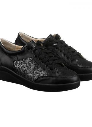 Скидка! стильные кожаные черные серебристые кроссовки кеды нат...