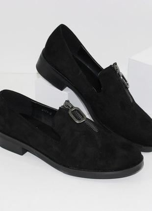 Комфортные замшевые черные туфли мокасины низкий каблук