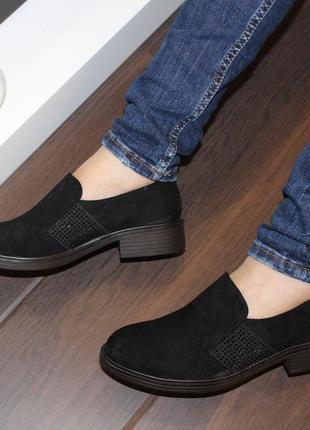 Комфортные замшевые черные туфли низкий каблук