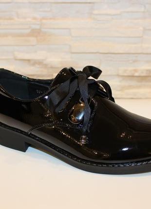 Черные лаковые туфли низкий каблук шнурок лента