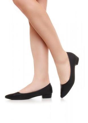 Черные туфли балетки низкий каблук стелька кожа