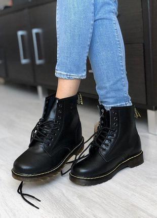 Зимние ботинки dr.martens black на меху #art0330