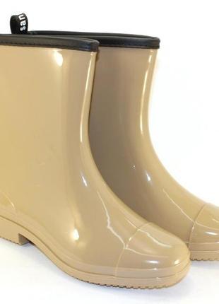 Резиновые силиконовые сапоги полусапожки бежевые, черные