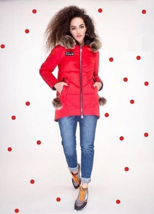 Зимняя куртка парка 42-52 с натуральным мехом