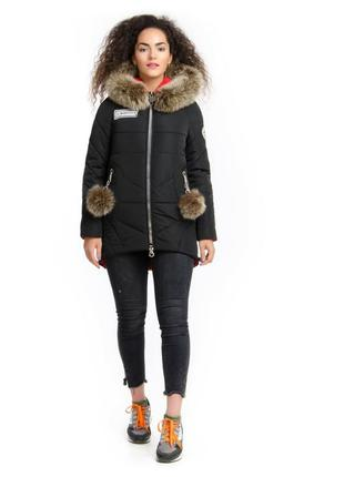 Зимняя куртка парка 42-48 с натуральным мехом