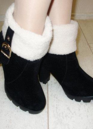 Ботильоны женские зимние черные на каблуке