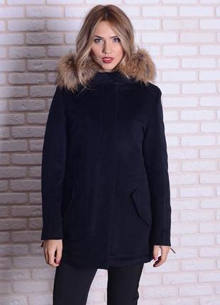 Парка-пальто с мехом енота
