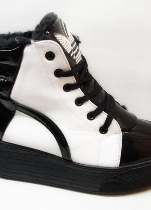 Ботинки слипоны зимние белые с черным