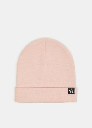 Новая пудровая розовая шапка светлая пудра звезда нашивка звез...