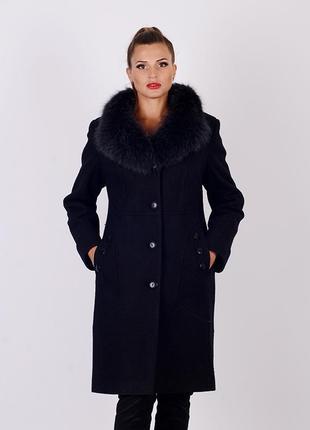 Шикарное зимнее черное пальто 48 52 54 56 с натуральным мехом ...
