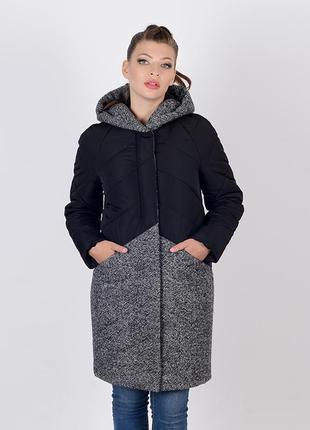 Скидка! зимняя комбинированная куртка с твидом черно-серая