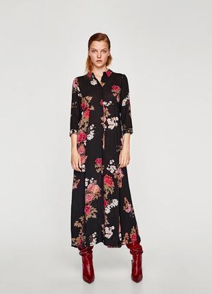 Платье рубашка в цветочный принт zara