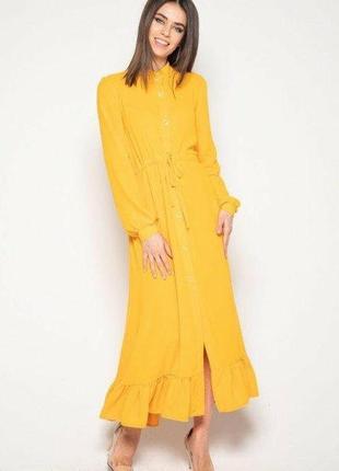 Платье рубашка с воланом