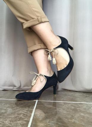 Стильные кожаные туфли мэри джейн бархатные на каблучке boden ...