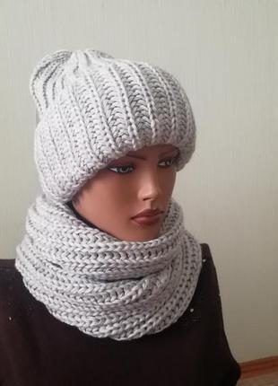 Стильный комплект шапка и снуд серый