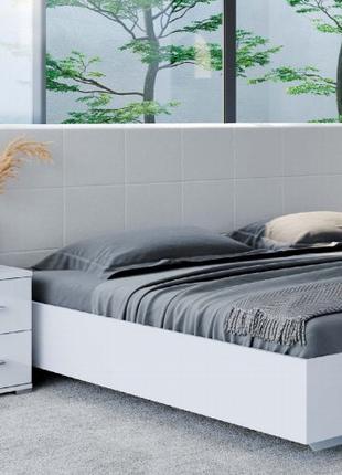 Белая кровать Фемили с мягким изголовьем стиль модерн