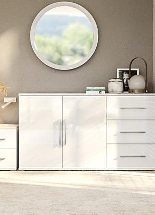Белый комод модульной спальни Фемили