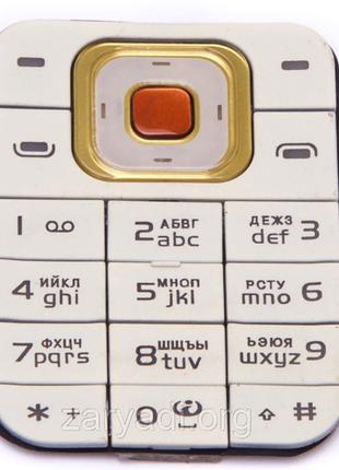 Клавиатура для Nokia 7370, Nokia 7373, Original, White/Gold