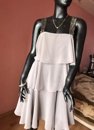 Платье, сарафан zara с воланами, размер 46, 48