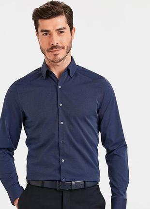 Мужская рубашка синяя lc waikiki / лс вайкики в тонкий голубой...