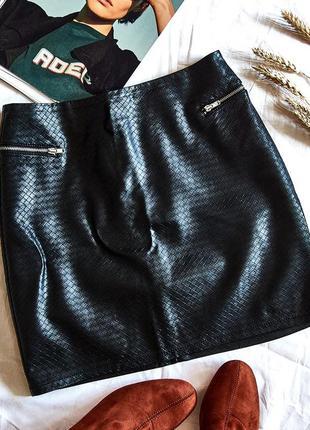 Кожаная юбка короткая, юбка из экокожи, приталенная юбка, мини...