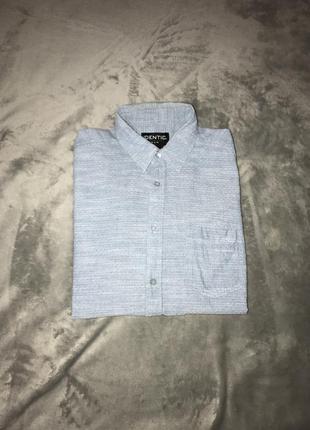 Мужская рубашка голубая с коротким рукавом identic разм l стил...