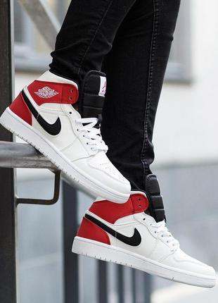 Кроссовки женские nike air jordan 1 mid white black gym red