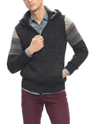 Теплая мужская кофта lc waikiki с орнаментом на рукавах, с теп...