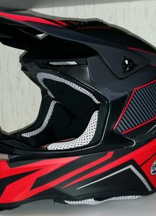 Шлем кроссовый Exdrive  OFF ROAD EX-806  черно/красный  крбон