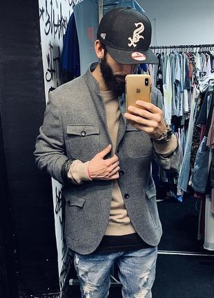 Пальто шерстяное милитари куртка