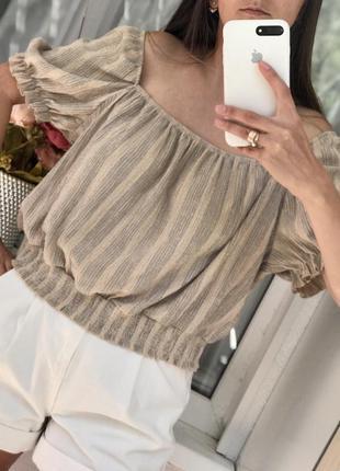 Топ блуза с рукавами-фонариками h&m
